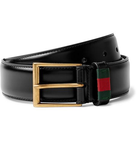 Gucci 3.5cm Black Webbing-trimmed Leather Belt