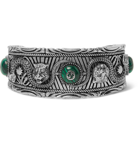 Burnished Silver Tone Stone Cuff by Gucci