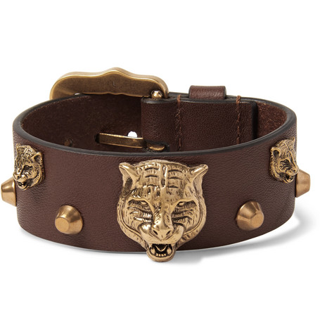 Gucci – Studded Leather And Burnished Gold-tone Bracelet – Tan
