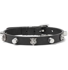 Gucci Studded Leather and Silver-Tone Bracelet