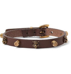 Gucci Studded Leather and Gold-Tone Bracelet
