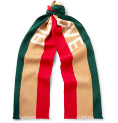 Gucci Striped Intarsia Wool and Silk-Blend Scarf