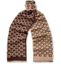 Gucci GG-Patterned Wool and Silk-Blend Scarf