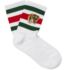 Gucci Appliquéd Stretch Cotton-Blend Socks