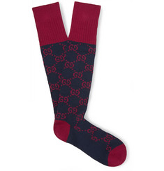 Gucci Patterned Ribbed Stretch Cotton-Blend Socks