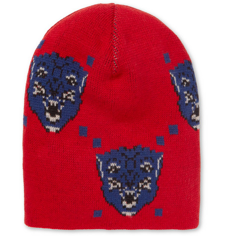 Oversized Intarsia Wool Beanie - Red