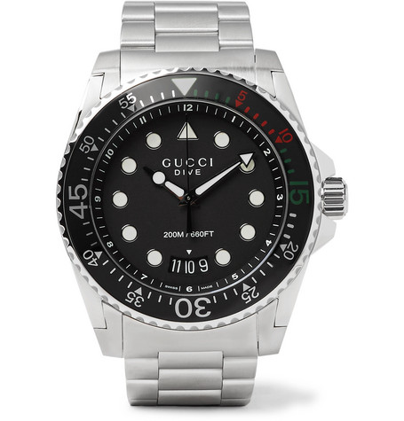 Gucci Dive 45Mm Stainless Steel Watch In Silver