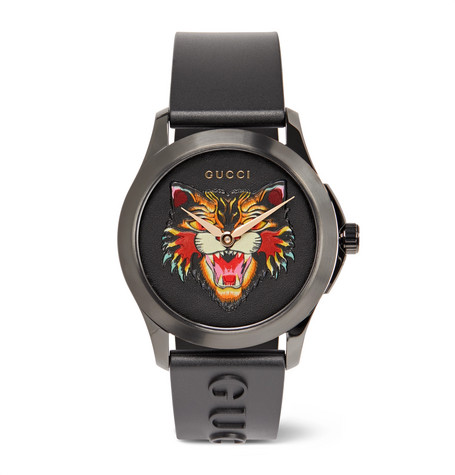 3d2629b0d63 Gucci - 38mm Angry Cat Blackened Stainless Steel and Rubber Watch
