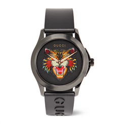 Gucci 38mm Angry Cat Blackened Stainless Steel and Rubber Watch