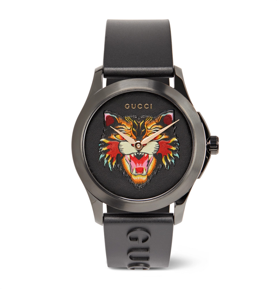 Bild på 38mm Angry Cat Blackened Stainless Steel And Rubber Watch - Black