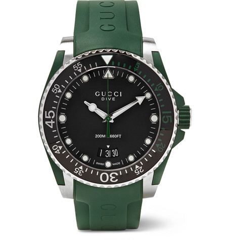 49ba1344860 Gucci - Dive 40mm Stainless Steel and Rubber Watch