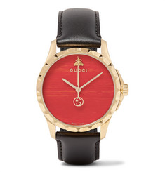 Gucci - Gold PVD-Coated and Leather Watch