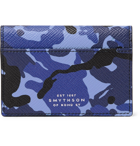 Smythson Panama Camouflage-Print Cross-Grain Leather Bifold Cardholder In Blue