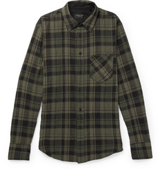 rag & bone - Fit 3 Checked Stretch Cotton-Herringbone Shirt