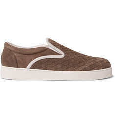 Bottega Veneta Dodger Leather-Trimmed Intrecciato Suede Slip-On Sneakers