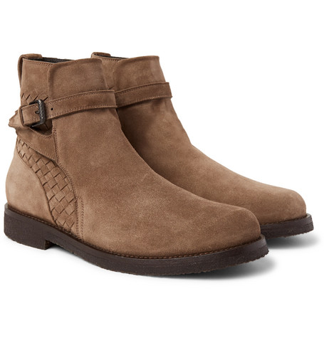 Shearling-lined Suede Jodhpur Boots - Tan
