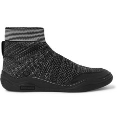 Lanvin Stretch-Knit High-Top Sneakers
