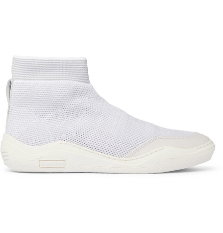 Lanvin  STRETCH-KNIT HIGH-TOP SNEAKERS - WHITE