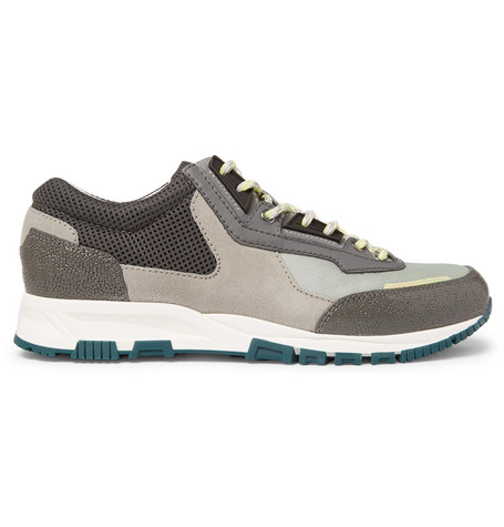 Lanvin Mesh, Suede And Textured-leather Sneakers In Gray