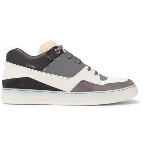 Mesh, Suede And Textured-leather Sneakers - BlackLanvin
