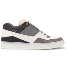 Lanvin Panelled Nubuck and Leather Sneakers