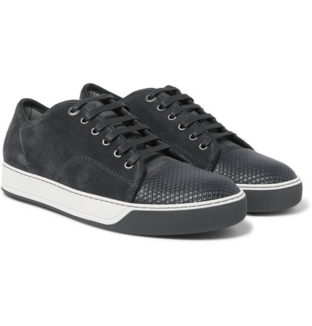Cap-toe Suede And Embossed-leather Sneakers - Gray