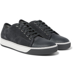 Lanvin - Cap-Toe Suede And Embossed-Leather Sneakers