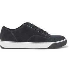 Lanvin Cap-Toe Suede And Embossed-Leather Sneakers