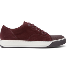 Lanvin Cap-Toe Suede and Embossed Leather Sneakers