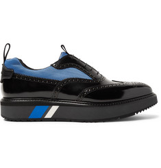 Prada Mesh-Panelled Spazzolato Leather Wingtip Brogues