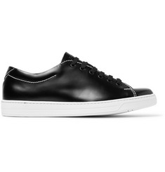 Prada Contrast-Stitched Spazzolato Leather Sneakers