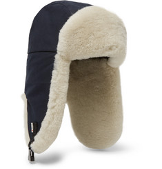 Best Made Company Shearling-Trimmed Cotton-Canvas Trapper Hat