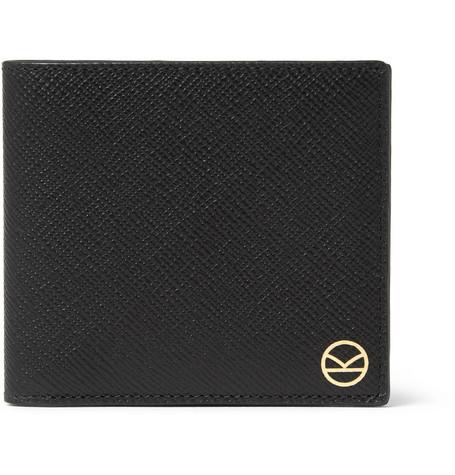 Kingsman Smythson Panama Cross-Grain Leather Billfold Wallet In Black