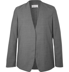 Maison Margiela Grey Collarless Mélange Virgin Wool Suit Jacket