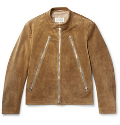 Maison Margiela Slim-Fit Collarless Suede Biker Jacket