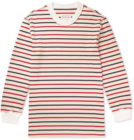 Maison Margiela - Oversized Striped Cotton-Jersey T-Shirt - White