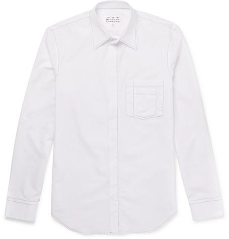 Slim-fit Satin Shirt - Midnight blueMaison Martin Margiela Vente Visite réductions authentique Acheter En Ligne Avec Paypal Meilleur Prix Bon Marché cXGJtIz8