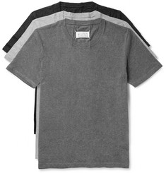 Three Pack Slim Fit Crinkled Cotton Jersey T Shirts by Maison Margiela