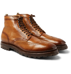 Officine Creative - Aspen Burnished-Leather Wingtip Brogue Boots