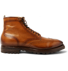 Officine Creative Aspen Burnished-Leather Wingtip Brogue Boots