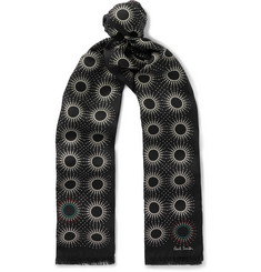 Paul Smith Starburst Printed Fringed Silk and Wool Scarf