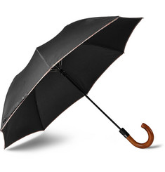 Paul Smith Stripe-Trimmed Wood-Handle Collapsible Umbrella