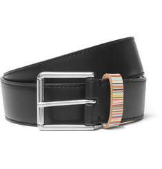 Paul Smith 3cm Black Stripe-Trimmed Leather Belt