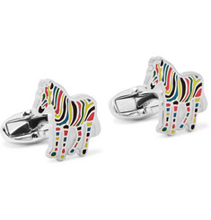 Paul Smith Zebra Enamelled Silver-Tone Cufflinks