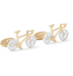 Paul Smith Racing Bike Gold and Silver-Tone Cufflinks