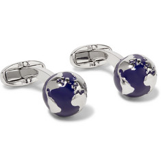 Paul Smith Globe Enamelled Silver-Tone Cufflinks