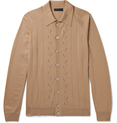 Prada Slim-Fit Laser-Cut Virgin Wool Cardigan