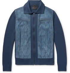 Prada Slim-Fit Laser-Cut Suede-Panelled Virgin Wool Jacket