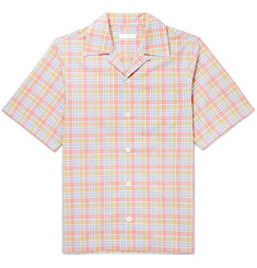 Prada - Camp-Collar Checked Cotton-Poplin Shirt