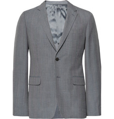 Prada - Grey Slim-Fit Prince of Wales Checked Wool, Mohair and Silk-Blend Blazer